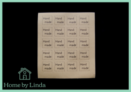 Stickers Hand made vierkant 2,5 cm x 2,5 cm (set van 20 stuks)