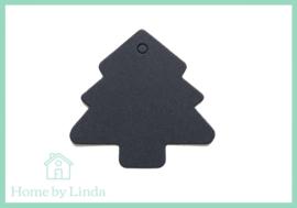 Label Kerstboom zwart kraft 4,5 cm (set van 10 stuks)