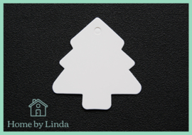 Label Kerstboom wit kraft 4,5 cm (set van 10 stuks)