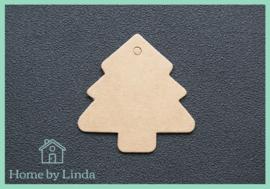 Label Kerstboom bruin kraft 4,5 cm (set van 10 stuks)