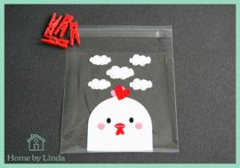 Cellofaan zakjes witte kip 10 cm x 10 cm (set van 10 stuks)
