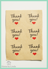 Stickers thank you 3,8 cm (set van 6 stuks)