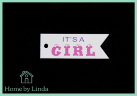 Label it's a girl wit kraft 2,5 cm x 7,5 cm (set van 10 stuks)