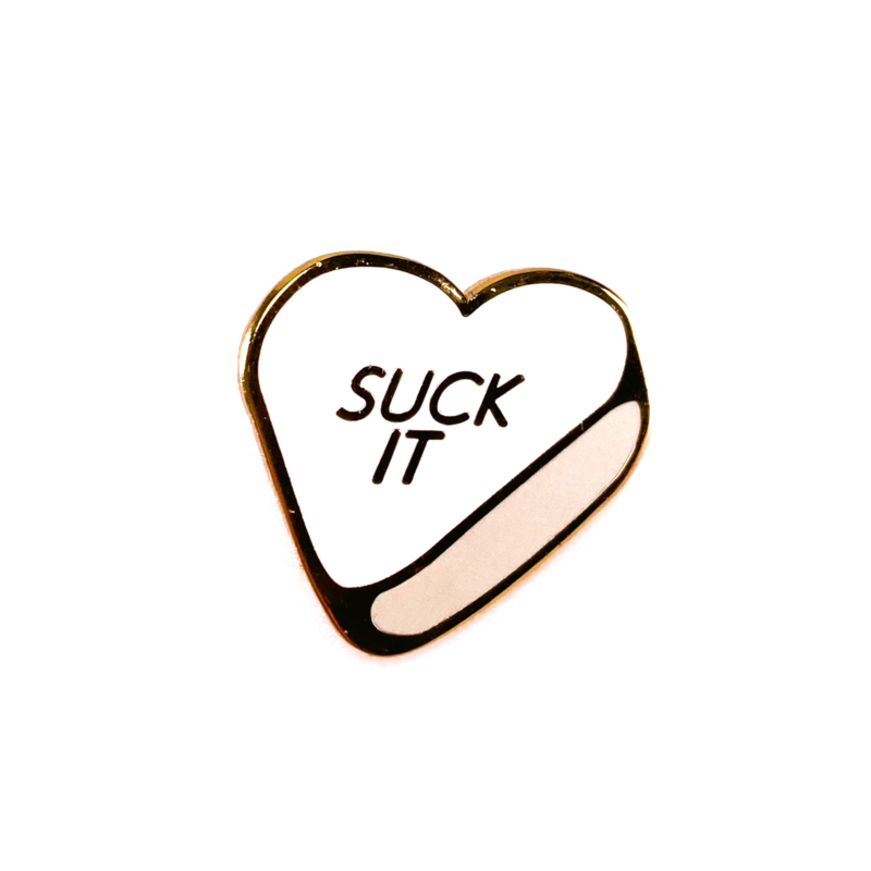 WHITE CANDY HEART PIN