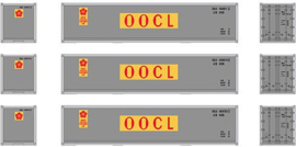 H0 | Athearn ATH12176 - Container 3 Pack 40' – OOLU