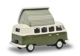 H0   schuco 26604 - VW T1c Campingbus, groen/wit