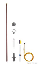 H0 | Viessmann 6727 - Houten paallamp DDR Reichsbahn, LED warmwit, kit
