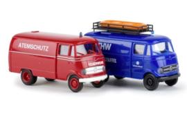 "H0   Brekina 90465 - 2-piece set fire department & ""THW"" MB L 319"