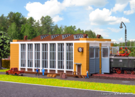 N   Vollmer 47605 - Elektrische locomotiefloods met beweegbare deuren, tweesporig