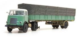 H0 | Artitec 487.020.01 - DAF Trekker, 1 as trailer + huif, cab 1955, groen-wit
