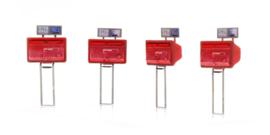 H0 | Artitec 387.476 - H0 Tweelingbrievenbus rood (4x)