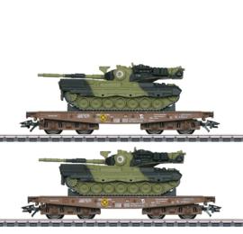 H0   Märklin 48842 - DSB, Set platte wagens voor zware belasting Slmmps