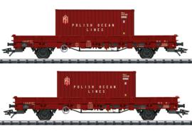 H0 | Trix 24555 - PKP, Set lageboordwagens