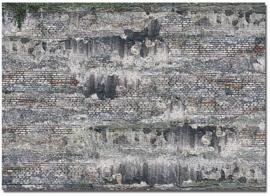 H0 | Busch 7415 - 2 Decorplaten »Verweerde Industriële stenen muur«