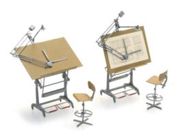 H0 | Artitec 387.474 - H0 Set tekentafels met stoelen (2x)