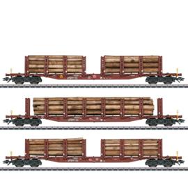 H0   Märklin 47146 - DB AG, Set rongenwagens houtvervoer
