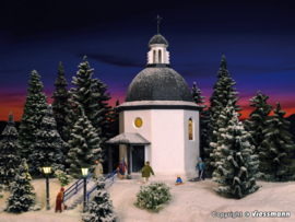 N | Vollmer 47612 - Silent night memorial chapel with lighting and artificial snow