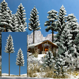 H0 | Busch 6153 - 2 Snow Covered High Trunk Spruces