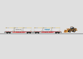 H0 | Märklin 47071 - DB AG, Set containerwagens met WoodTainer XXL-container.