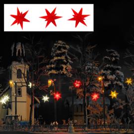H0 | Busch 5416 - 3 brandende rode kerststerren