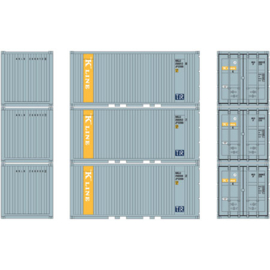 H0 | Athearn ATH27838 - 20' Corrugated Container w/Panel,K.Line (3)