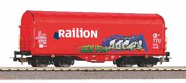 H0 | Piko 58981 - Railion, Schuifzeilwagen met graffiti.