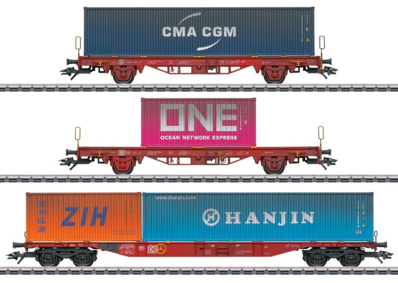 H0 | Märklin 47580 - DB AG, Set containerwagens Lgs 580