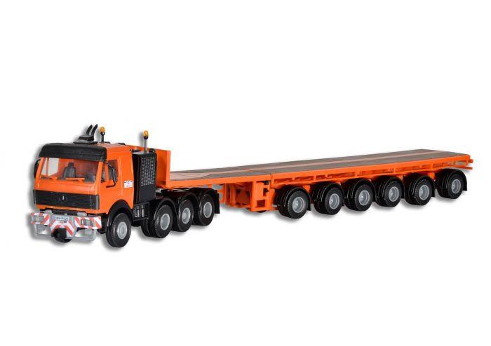 H0 | Kibri 13518 - MB 4-assige trekker met trailer