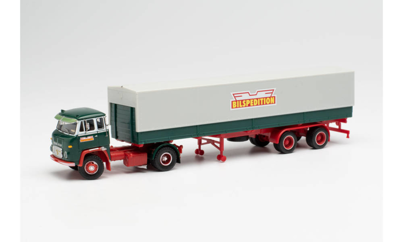 "H0 | Herpa 026017 - Scania LB 76 zeilenoplegger ""Bilspedition"" (S)"