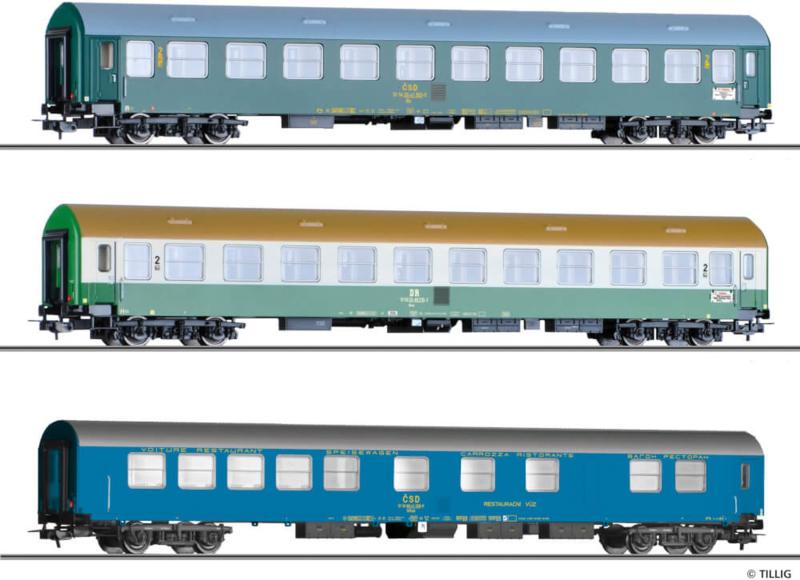 "H0 | Tillig 501765 - 3-delige personenwagenset ""Vindobona deel 3"", DR / CSD, tijdperk IV"
