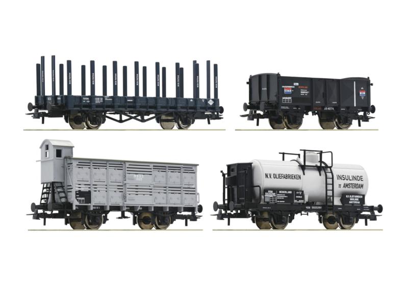 H0 | Roco 76077 - Set 4 Nederlandse goederenwagens
