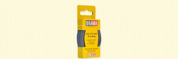 Brawa 3107 - Draad, 0,14 mm², 10mtr, grijs