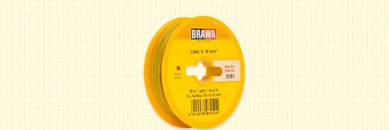 Brawa 3151 - Draad, 0,14 mm², 25mtr, geel,