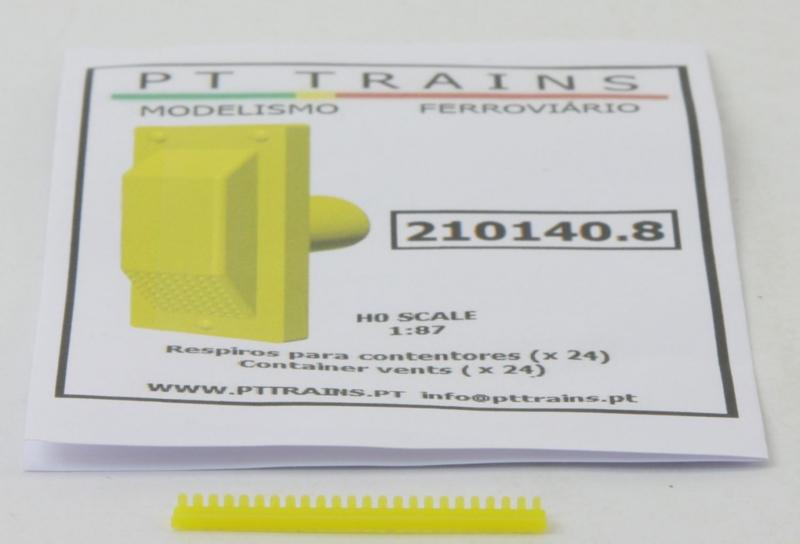 H0   PT Trains 210140.8 - Set met 24 container ventilatoren, geel