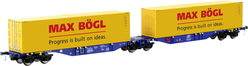 H0   Mehano 58958 -Articulated double pocket wagon Sggmrss 90 blue ERR