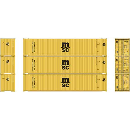 H0 | Athearn ATH24556 - Container 3 Pack 45' - MSC