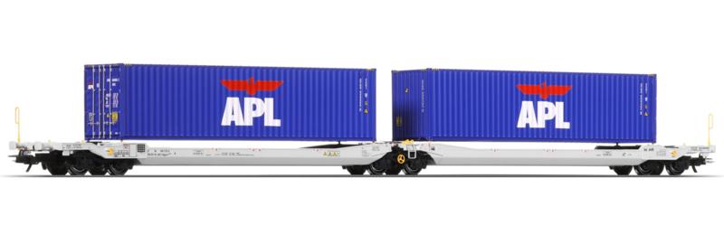 H0   Esu 36544 - AAE, containerwagen Sdggmrs, APL