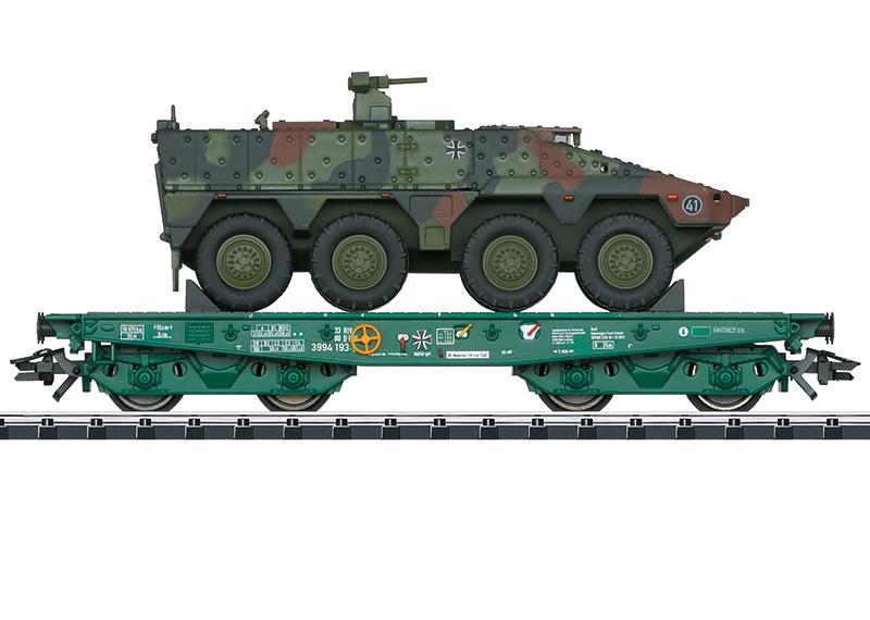 H0   Trix 24224 - Deutsche Bundeswehr, Platte wagen voor zware belasting Rlmmps