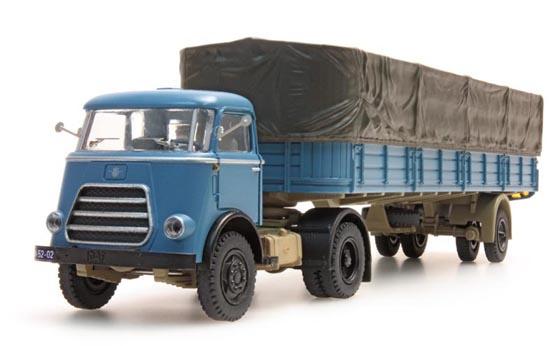 H0 | Artitec 487.021.01 - DAF Trekker, 1 as trailer + huif, cab 1959, blauw