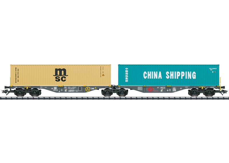 H0 | Trix 24803 - Ermewa, Dubbele containerwagen Sggrss 80