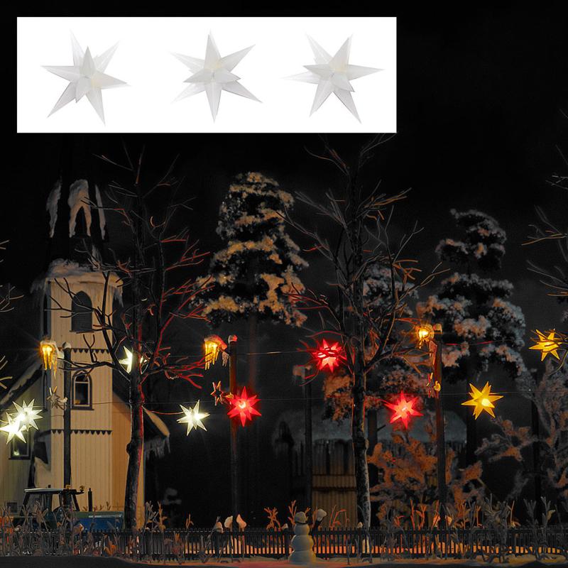 H0 | Busch 5414 - 3 brandende witte kerststerren