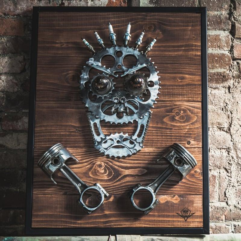 Highlow Bike Art Skull series: The Piston Addict