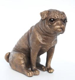 beeldje Mopshond bronskleur