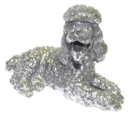 beeldje Poedel zilvertin 16 cm