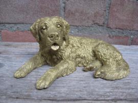 beeldje Sint Bernardhond goudkleurig