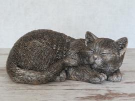 asbeeld/kattenurn slapend | 28 cm