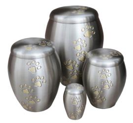 urn Paw Print mat zilver