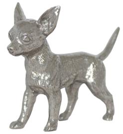 beeldje Chihuahua korthaar zilvertin