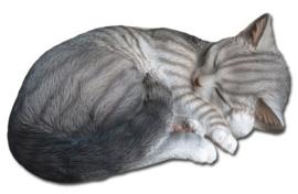 beeld/asbeeld/urn Kat slapend grijs