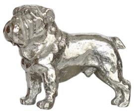 beeldje Engelse Bulldog staand zilvertin